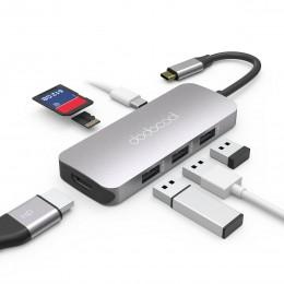 Адаптер Dodocool 7 в 1 USB-C, HDMI, USB 3.0, microSD, SD DC68 арт. 897
