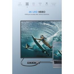 Адаптер Ugreen USB-C 8 в 1 RJ45 HDMI SD USB 3.0 gray 50538, арт. 639