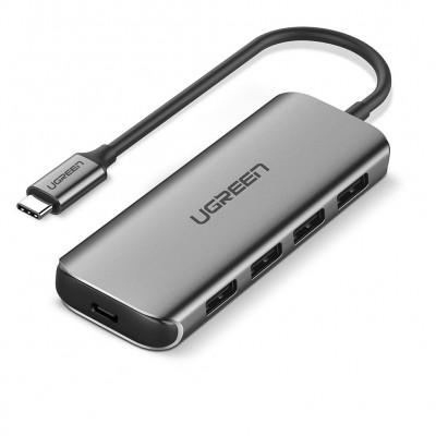 Адаптер USB Type-C - USB 3.0 x 4 Ugreen с поддержкой зарядки