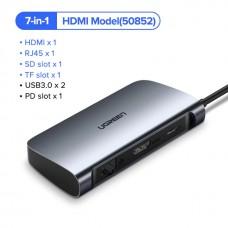 Адаптер Ugreen USB-C HUB 7 в 1 RJ45 HDMI SD USB 3.0 RJ45 арт. 898