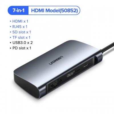 Адаптер Ugreen USB-C HUB 7 в 1 RJ45 HDMI SD USB 3.0 RJ45