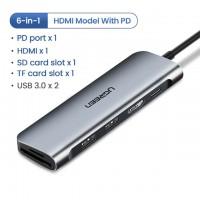 Адаптер Ugreen USB-C HUB 6 в 1 1x HDMI, 2xUSB 3.0, SD, TF, PD, модель 70411, арт. 905