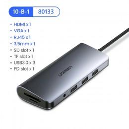 Адаптер Ugreen 80133 USB-C 10 в 1 VGA/HDMI/RJ45/SD/USB 3.0/3,5мм арт. 1177