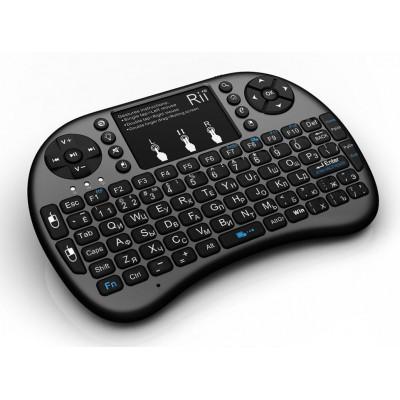 Купить беспроводную клавиатуру c подсветкой Rii mini i8+, черная